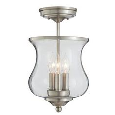 allen + roth Yateley 8.66-in W Brushed Nickel Clear Glass Semi-Flush Mount Light