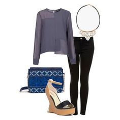 You will look ultra stylish in a cool blouse, printed bag and a sculpted wedge.