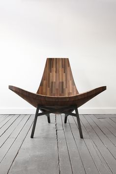 front view of 'water tower' chair by bklyn's own bellboy - made out of reclaimed wood from nyc water towers - gorgeous!