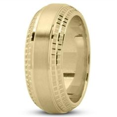 14k Yellow Gold Men's Wedding Band with Milled Design and Beveled Edge