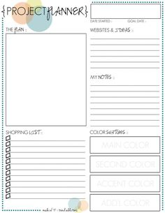monthly freebie :: project planner printable -- get organized for your next project! - Tap the link now to Learn how I made it to 1 million in sales in 5 months with e-commerce! I'll give you the 3 advertising phases I did to make it for FREE!