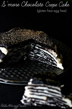S'mores Chocolate Crepe Cake (GF)- PetiteAllergyTreats- Decadent chocolate crepes with sweet mascapone marshmallow filling.