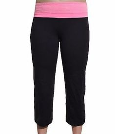Capri Reversible Yoga Workout Pants (Black Pink) #yoga #pants #stretchy #athletic #active #wear #activewear #pink #black #comfort #cute #adorable #fierce #women #fashion #womensfashion #savvy #stylesavvy #styleforless