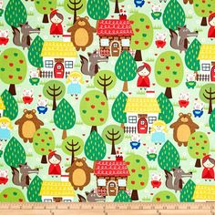 Michael Miller Into The Forest Green from @fabricdotcom  Designed for Michael Miller Fabrics, this cotton print features a fairy tale forrest motif.  Perfect for quilting, apparel and home décor accents.  Colors include white, black, yellow, shades of green, shades of blue, shades of brown and shades of red.