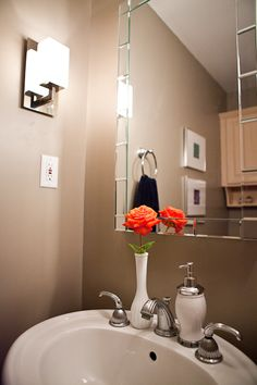 Create warmth in a small bath space with Benjamin Moore Indian River!