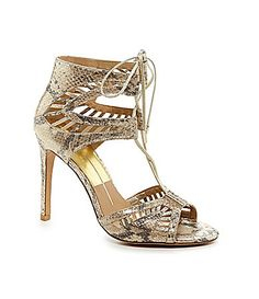 "Dolce Vita Henlie Snake LaceUp Dress Sandals Item #04436191  #Dillards  Gold color, 4"" heel.  Love this style!!!"