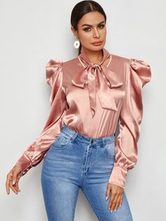 """""""Left or right outfit? All Fashion, Latest Fashion For Women, Women's Fashion Dresses, Fashion Women, Kids Fashion, Satin Top, Red Satin, Satin Bluse, Sexy Blouse"""
