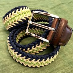 This stylish colours navy, beige and green Arrow Stripe design elasticated woven belt has been precisely crafted using quality woven waxed fabric with the ideal amount of stretch and firmness. Navy Chevron, Browns Gifts, Woven Belt, Stripes Design, Belt Buckles, Green Arrow, Beige, Stylish, Leather