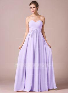 A-Line/Princess Sweetheart Floor-Length Ruffle Zipper Up Strapless Sleeveless No Watermelon Spring Summer Fall General Plus Chiffon Bridesmaid Dress