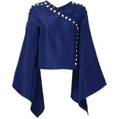Rosie Assoulin Kimono Sleeve Top ($1,482) ❤ liked on Polyvore featuring tops, blue, kimono sleeve top, blue top, rosie assoulin, blue silk top and silk tops
