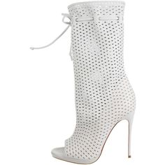Pre-owned Christian Louboutin Jennifer Boots ($1,125) ❤ liked on Polyvore featuring shoes, boots, white, open toe boots, real leather boots, christian louboutin boots, white boots and leather shoes
