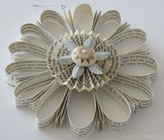 folded paper book ornament  www.juliereed.com