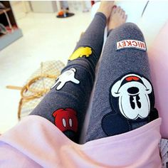2016 Nylon Punk Leggings Rushed Cartoon Mid Cotton Bamboo Fiber Leggins South Korea Shopping Fashion Mickey Women Leggings