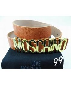 Moschino Gold MOSCHINO Large Leather Belts Brown