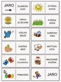 Jar domino - vety - čítanie s porozumením Seasons Activities, Montessori Activities, Preschool Worksheets, Preschool Activities, Weather For Kids, Math Card Games, Math Patterns, Activity Board, Schools First