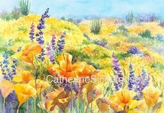 Poppies, lupine, WATERCOLOR PAINTING, Ceramic tile, desk top art with easel back, yellow, wildflowers on Etsy, $32.00