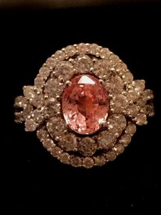 18K GOLD 4.42 CT. RARE GIA CERTIFIED PADPARADSCHA SAPPHIRE & DIAMOND RING!!! #Handmade #COUTURE