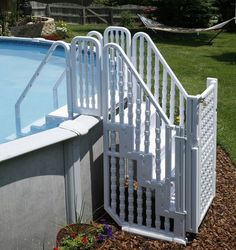 This rugged step/ladder entry system is all you need to enter and exit your pool if you don't have a deck. The Easy Pool Step system features our rugged step that will fit any pool up to deep; and makes getting out of your pool easy and safe. Above Ground Pool Steps, Above Ground Pool Ladders, Above Ground Pool Landscaping, Backyard Pool Landscaping, Above Ground Swimming Pools, In Ground Pools, Backyard Ideas, Swimming Pool Steps, Swimming Pool Ladders