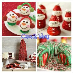 Christmas treats - love the santa claus one...healthy with strawberries. :)