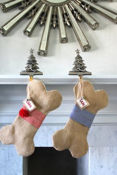 Personalized Dog Christmas Stocking Unique burlap by KlaudiaDecore