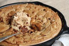 Vintage Kitchen Notes: Cinnamon Peanut Butter Skillet Blondies with Ice Cream #SundaySupper