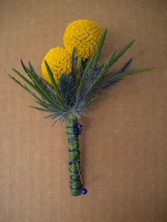 Yellow Billy Balls with blue thistles. @Lucy Kemp's Informalflowers.
