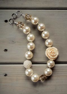 Girls Bubblegum Bead Pearl and Rose Necklace by HappyToDesigns, $25.00