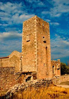 Old tower in Exo Nimfion village in Mani Peninsula