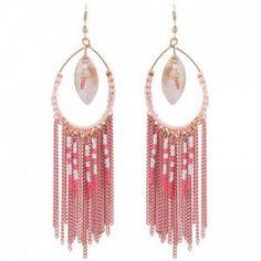 Roze oorbellen met kraaltjes en strengen (Hanger)