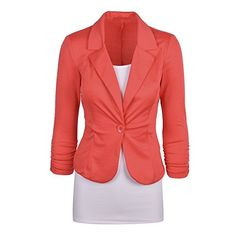SODIALR Womens Casual Work Solid Color Knit Blazer Plus Size One button JacketOrangeMUS810 * Read more at the image link.