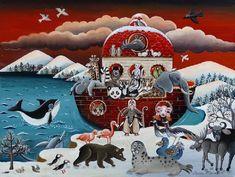 Winter Art, Marie, Artist, Christmas, Animals, Naive Art, Xmas, Animales, Animaux