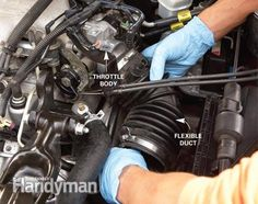 Cleaning a Throttle Body: This 10-minute fix could solve your rough idle problem Read more: http://www.familyhandyman.com/automotive/car-maintenance/cleaning-a-throttle-body/view-all