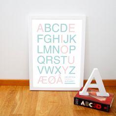 Retro danish alphatbet poster, Nursery art print from Denmark, Mid century typography art print, Blue Pink A3