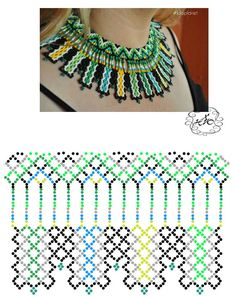 A super easy crochet pattern that turns out so cute! It's a free pattern and includes a link to a video tutorial for the stitch used. Seed Bead Necklace, Seed Bead Jewelry, Bead Jewellery, Beaded Earrings, Diy Necklace Patterns, Beaded Jewelry Patterns, Necklace Tutorial, Beaded Collar, Beaded Ornaments