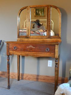 Antique Dressing Vanity With Tri Fold Mirror And By LeasAtticSpace
