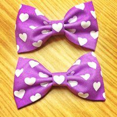 Purple Big White Hearts Fabric Hair Bow or Bow by Bowliciousdivas, $4.00