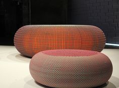 Poufs made of nike fly knit material and inner tubes of tires | bertjan pot at milan design week 2016