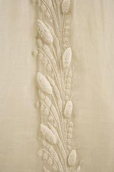 Embroidered White Cotton Dress - French - 1804-1814 - Detailed View of Raised Embroidery