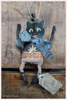Nostalgischer Christbaumschmuck Wattefigur Katze spun cotton ornament christmas von FilASophie auf Etsy
