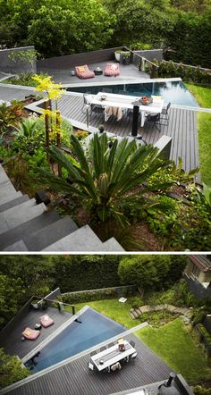 terrasse sur terrain en pente et jardin sur plusieurs niveau avec végétation opulente et piscine extérieure