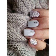 45 Chic White Nails Art Designs to try in 2015 ❤ liked on Polyvore featuring beauty products, nail care, nail treatments, nails and accessories