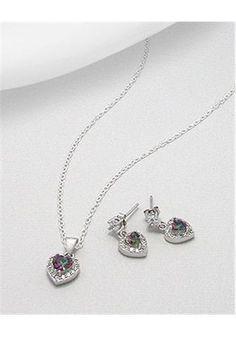 Heart Jewelry set Earrings In 92.5 Sterling Silver
