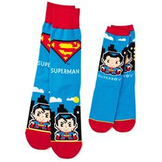 Soar into your next adventure with these socks featuring Superman and Supergirl. 1 pair adult socks, 1 pair child socks with pixelated designs. Matching Socks, Kids Socks, 8 Bit, Father And Son, Sock Shoes, Crew Socks, Dc Comics, Sons, Daughter