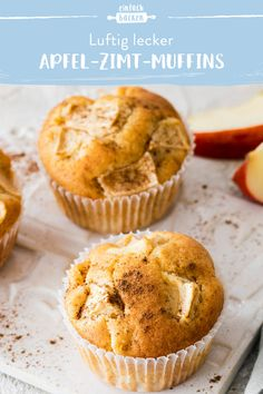 Fluffy muffins with juicy apple pieces and a hint of cinnamon. Quickly prepared and baked, the muffins are the perfect snack in between. Apple Recipes Easy, Baking Recipes, Cake Recipes, Snack Recipes, Dessert Recipes, Egg Recipes For Breakfast, Homemade Breakfast, Breakfast For Kids, Dessert Simple