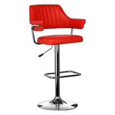 Bar Chair, Red Leather Effect, Chrome Finish Base
