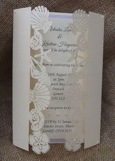 Rustic country burlap beach wedding invitations Image source Beach – Laser Cut Wedding Invitation by CardiffInvitations on Etsy Image source Wedding Invitation Image source Cricut Wedding, Wedding Cards, Our Wedding, Dream Wedding, Spring Wedding, Wedding Rings, Beach Theme Wedding Invitations, Beach Wedding Favors, Wedding Stationery
