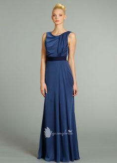 french blue chiffon sleeveless a-line long bridesmaid dress