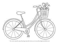 Embroidery Pattern from Learn How to Draw a Cute Bicycle (Two Wheelers) Step by Step : Drawing Tutorials. Bicycle Drawing, Bicycle Painting, Bicycle Art, Kids Bicycle, Bicycle Design, Hand Embroidery Patterns, Embroidery Art, Embroidery Stitches, Embroidery Designs