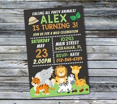 Cute Kids Jungle Birthday Party Invitation                                                                                                                                                      More