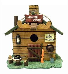 Moose Lodge Rustic Wooden Log Cabin Birdhouse by Beachcombers